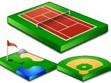 足球等各种运动场 运动图标-网页素材图片