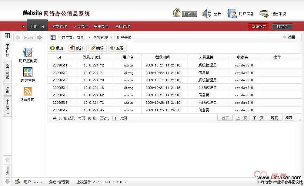最新红色风格后台管理系统ui界面设计_网学