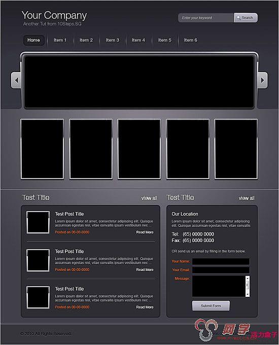 这是我众多网站界面设计教程中的一个,是专门为10Steps.sg写的。我们要兼顾整个页面的美感,在动手设计杂志网站界面之前要做细致的设计规划。希望本教程会为你以后的项目设计带来帮助。 最终效果预览  下面让我们用线框来着手布局。下图就是我们绘制的简单布局,这么做的目的是要确定每个元素的位置。确定主导航栏包含几个部分、以及最新增加的内容在主页面中的展示位置。  新建文件,宽960px、高1200px。这对于屏幕分辨率为1024*768的朋友来说是黄金尺寸。前景色设为#85848c,背景色设为#414048