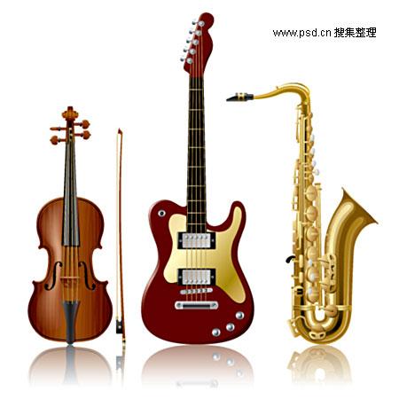 吉他萨克斯小提琴矢量素材